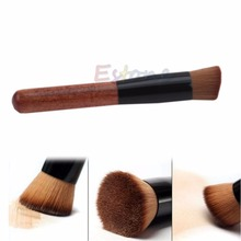 Angled Flat Top Buffer Brush Bamboo Face Base Liquid Foundation Cosmetic Makeup