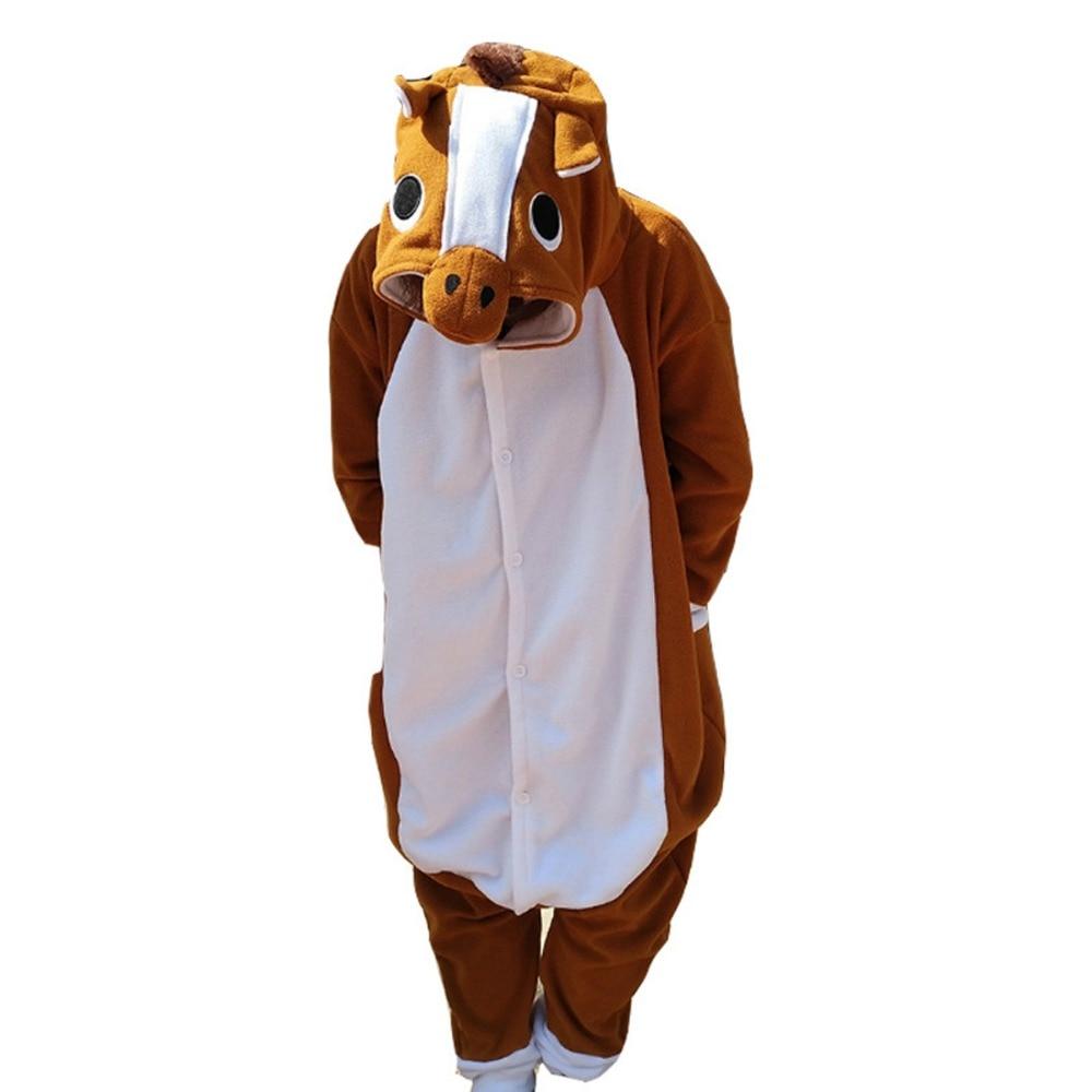 Nieuwste Collectie Van Polar Fleece Unisex Adult Pyjama Kigurumi Cosplay Kostuum Dier Bruin Paard Jumpsuits Nachtkleding Duurzaam In Gebruik