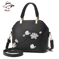 2017 New Casual Shell Flower Embroidery Ladies Bags Handbags Women Famous Brands PU Leather Handbag Vintage