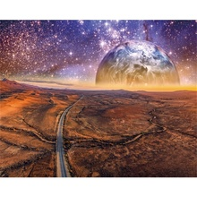 Laeacco Canvas Painting Calligraphy Art Science Fiction Earth Road Posters and Prints Wall Pictures for Living Room Home Decor