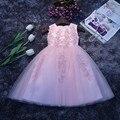 2016 Лето Блеск Бисера Baby Girl Dress Крещение Dress для девушки Детские 1 Год Рождения Dress для Девочка Chirstening платье