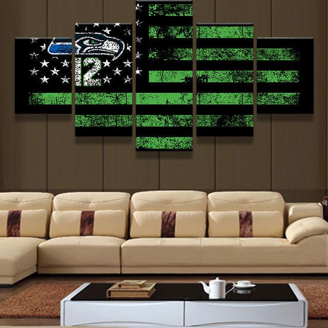 Art Abstract Original Indoor Framed Seattle Seahawks American Flag ...