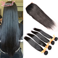 Remi Hair Virgin Straight With Closures 3 Bundles Indian Virgin Hair With Closure Indian Remy Hair Bundles With Closure Straight