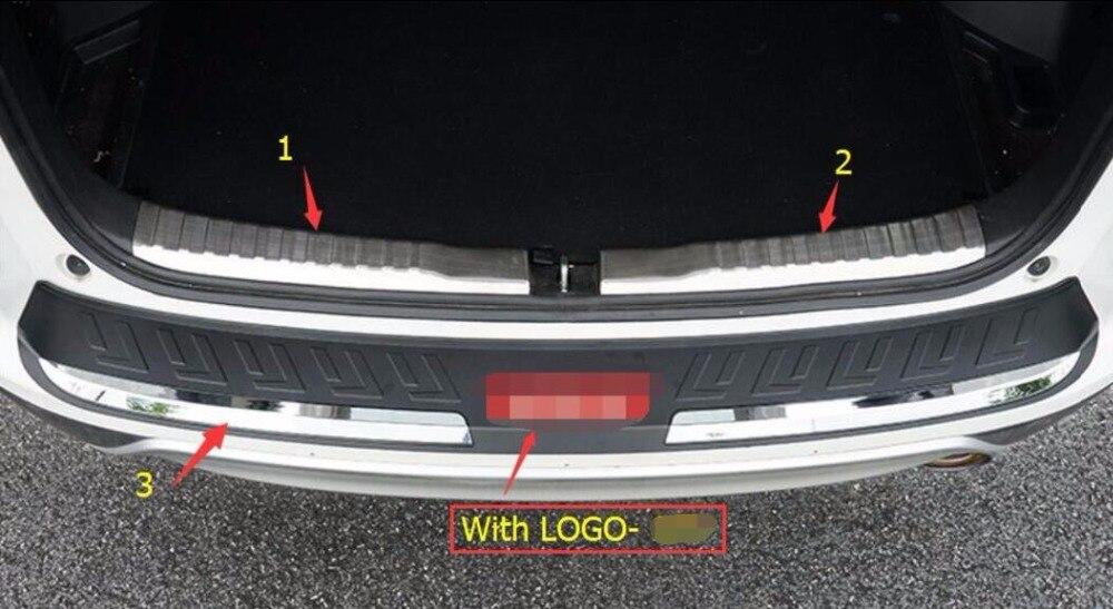 Lapetus 3 Pcs For Honda CRV CR-V 2015 2016 Stainless Steel + Plastic Rear Bumper Foot Plate Trunk Door Sill Guard Cover Trim chiyuan cr v6 6 plastic stainless steel plier black