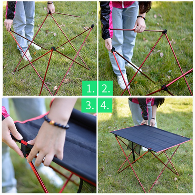 Image 5 - VILEAD Portable Camping Table 57*42*38 cm 6061 Aluminium Folding Durable Tourist BBQ Outdoor Hiking Beach Waterproof Stable Fold-in Camping Tables from Sports & Entertainment