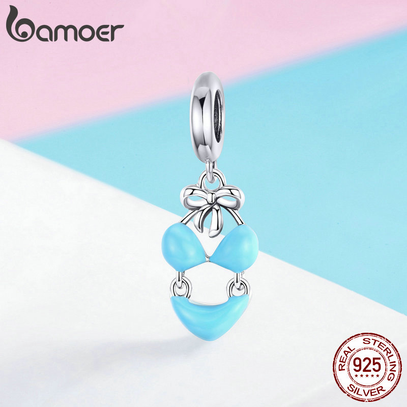 Bamoer European Style S925 Sterling Silver Charm Summer Flowers with Blue cz