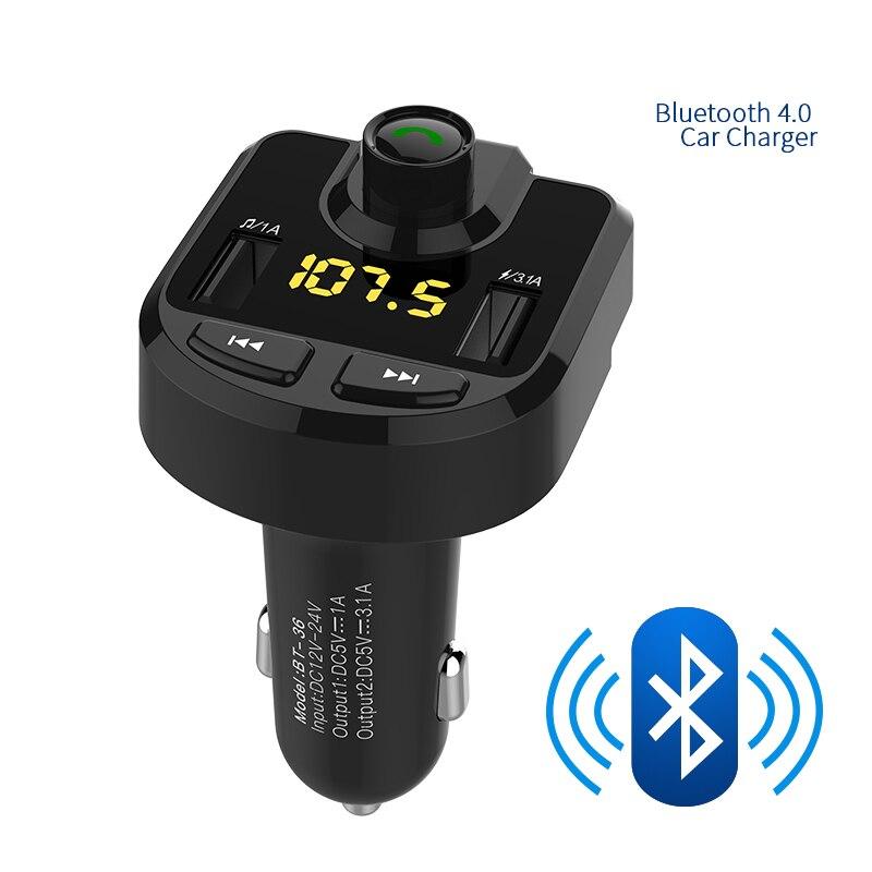 Transmisor FM Bluetooth Car Kit Manos Libres de Coche MP3 Reproductor de Audio de Detección De Voltaje de Ruido Cancelación Dual USB Cargador de Coche