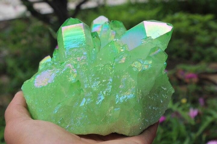 1737g Quartz cristal grappe herbe aura verte baguette de guérison spécimens 'A1 - 5