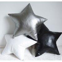 Handmade PU shiny hearted shaped seat cushion, black stars sofa pillow cushion, sofa decoration, cute seat mat for children room