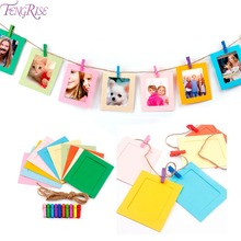 FENGRISE 10pcs Paper Photo Frame Picture With Wooden Clip and String Wedding 1st Birthday Party Decoration Set