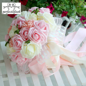 Image 5 - perfectlifeoh Mint Green Artificial flowers Wedding Bridesmaid Bouquets 2016 Romantic Wedding brooch bouquets Wedding Accessies