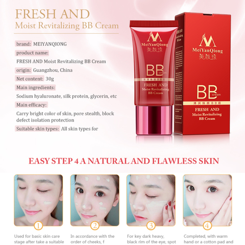 MeiYanQiong Perfect BB cream Face Care Foundation Base BB CC Cream Makeup Brightening Concealer Cream Whitening Concealer TSLM2 Multan