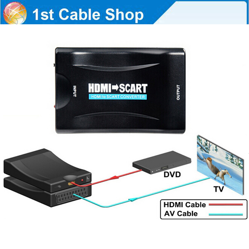 hdmi to scart av converter adapter hdmi in scart out supports up to 1080p 60hz hdmi input video. Black Bedroom Furniture Sets. Home Design Ideas