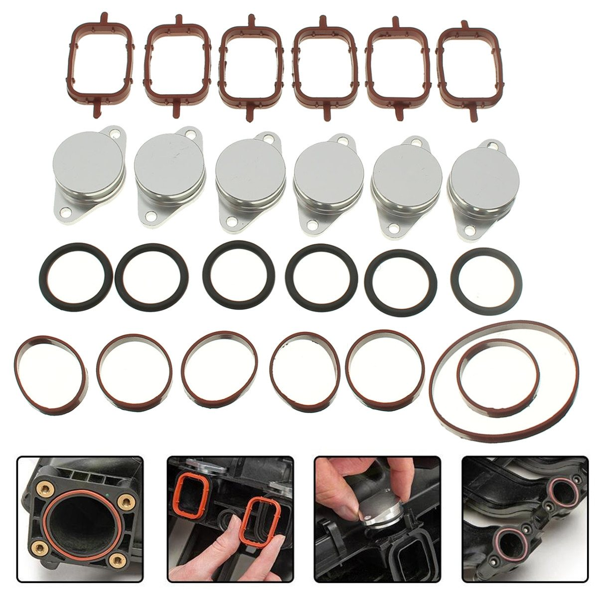 6x 32-33mm Swirl Flap Blank Bungs With Intake Manifold Gaskets For BMW E38 E39 E46 E53