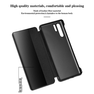 Image 4 - For Huawei P30 Pro GEnuine Leather Flip Case Cover Original Cenmaso  Smart Touch Clear View Protective Phone Case