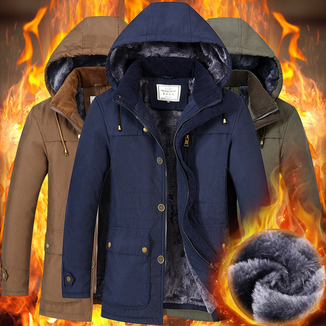 92b854b51ba YIHUAHOO Winter Jacket Men 3XL 4XL Thick Warm Parka Coat Faux Fur Hooded  Fleece Windproof Puffer Windbreaker Jacket Man FS-1612