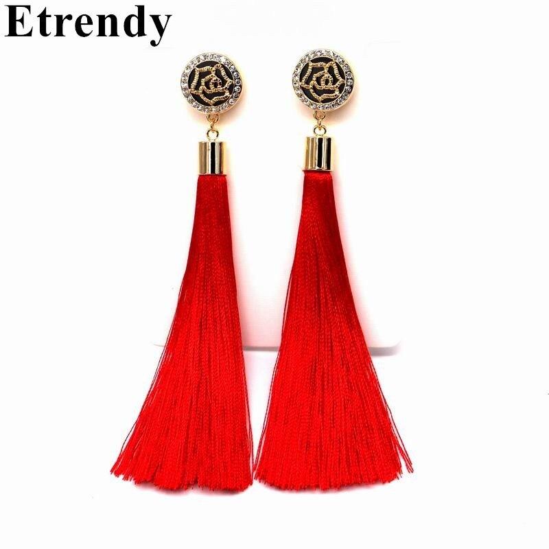 Flower Design Red Tassel Long Earrings For Women 2017 Fashion Jewelry Bijoux Black Blue Colors Fine Gifts