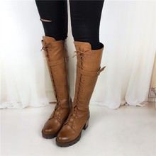 Big Size 34 43 high quality women boots high heels Lace Up motorcycle boots Square heel
