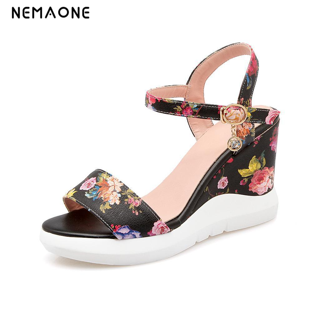 NEMAONE 2017 Sexy Female Wedges Sandal Women Platform ankle Strap Sandals Peep Toe High Wedge Summer Shoes Vacation Footwear 2017 summer newest wedge sandal for woman peep toe denim blue lace up platform sandal sexy embroidery gladiator sandal