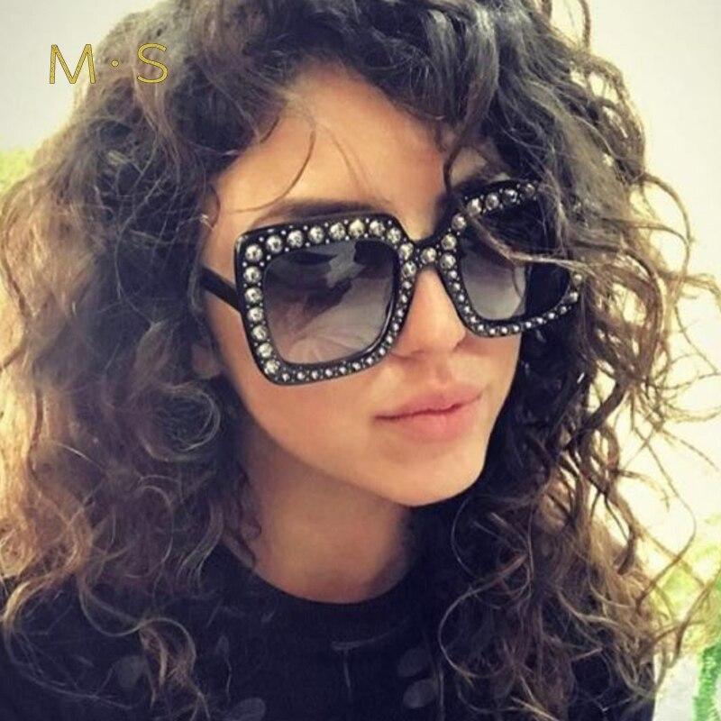 MS Fashion Sunglasses Women Luxury Brand Designer Oversize Sun glasses Female Oversize Square sunglass For Women Girl Eyewear