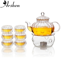 Arshen Pumpkin Shape Teaware Set Heat Resistant Glass 600ML Teapot Set Infuser Teapot with Warmer and 6 Pcs Double Wall Tea Cups