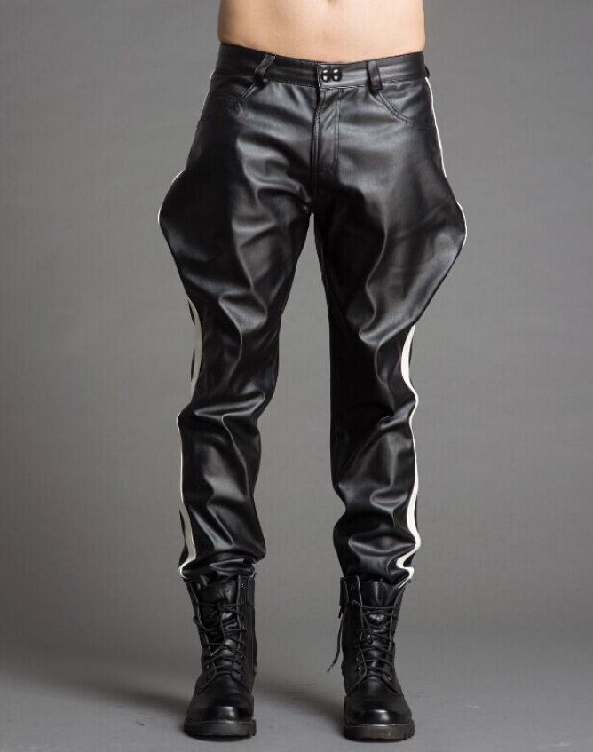 free shipping new mens black leather pants leather harem