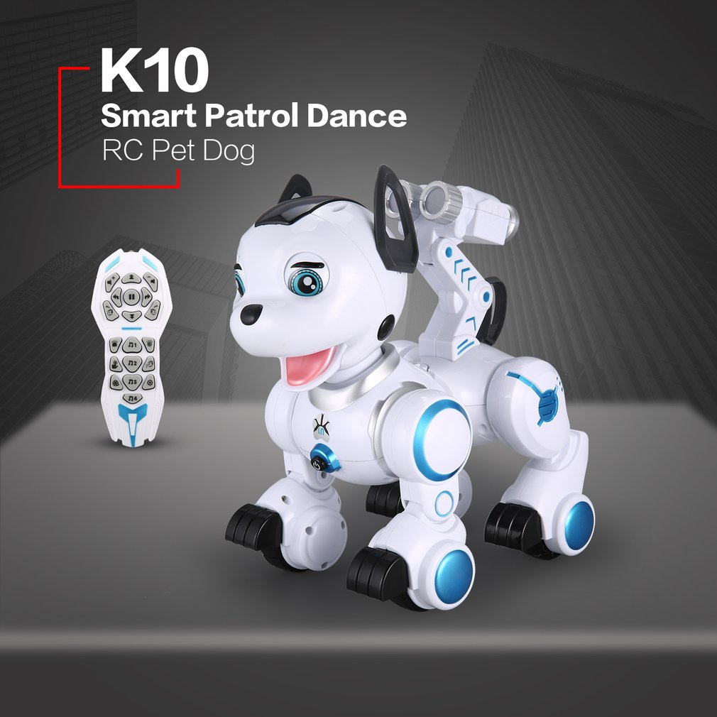 K10 Smart RC Dog Dance Head Spin Blink Patrol Remote Control intelligent Robot Dog Electronic Pet Toy Kid Children Gift 2 4g wireless remote control smart dog electronic pet educational children s toy dancing robot dog without box birthday gift k10