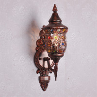 Юго Восточной азиатская лампа ретро бра тайский ресторан прохода света Творческий полый железа бра boho Кристалл Бра ZA8297