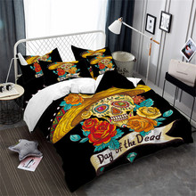 Tribal Sugar Skull Bedding Set Golden Flowers Print Duvet Cover straw hat Bed Pillowcase Halloween Gift 3Pcs D40