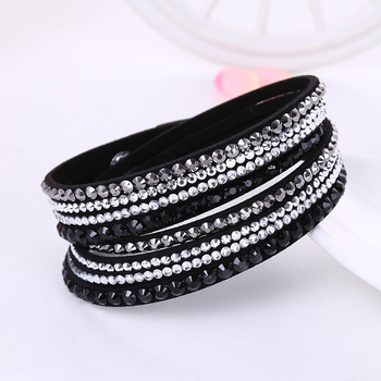 2016 New Leather Bracelet Rhinestone Crystal Bracelet Wrap Multilayer Bracelets for women feminino pulseras mulher Jewelry 1
