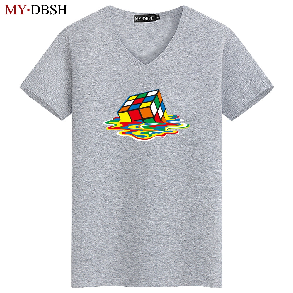 Melting Rubiks Puzzle Cube Sheldon Nerd Geek Retro 80s Party Mens White T-shirt Men Funny O Neck Short Sleeve Cotton T Shirt Men's Clothing