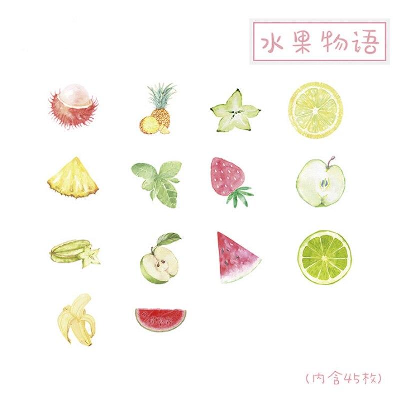 Купить с кэшбэком 46pcs/box Creative Fruit Story sticker diy hand gift bag sealing kawaii decoration adhesive tape Diary stationery stickers