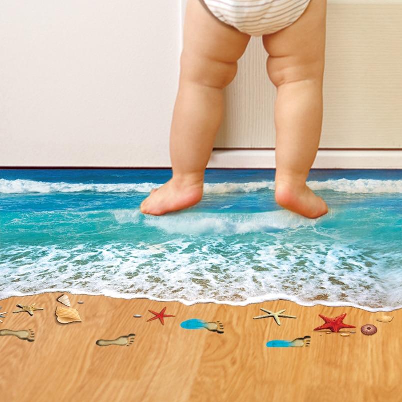 [SHIJUEHEZI] 3D-vloerstickers Zeestervoetafdruk Sticker strand Zee Vinilos Paredes voor kinderkamer Badkamerdecoratie