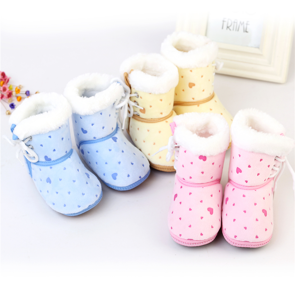 Winter Baby Girls Boots Kids Boys Shoes Heart Printed Cotton Flock Snow Warm Boots