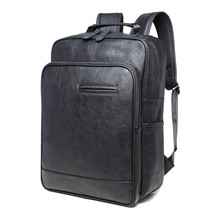купить Luxury Brand Backpack Mens High Quality PU Leather Vintage Black Men Male Casual Travel School Bags Backpack For Laptop Mochila дешево