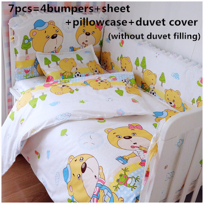 Promotion! 6/7PCS Crib Baby Bedding Set Boy Quilts Cover Infant Cotton Baby BedSheet Baby Bedding Set ,  120*60/120*70cm promotion 6 7pcs hot cradle infant bedding kit boy crib blue cotton baby bed sheet 120 60 120 70cm page 4 page 3