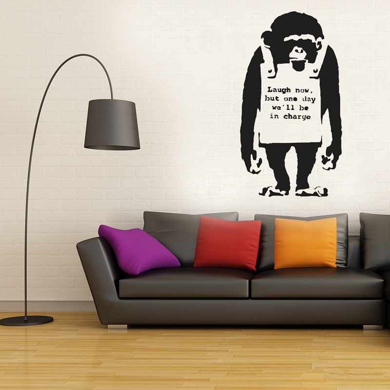 Banksy Vinyl Wall Decal Monkey With Headphones / Chimp Listening ...