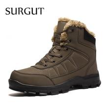 סורגוט מותג חורף גברים החלקה עבודה מגפי קטיפה להתחמם עמיד למים בתוספת פרווה שלג מגפי גברים סניקרס נעליים גודל גדול 39 47