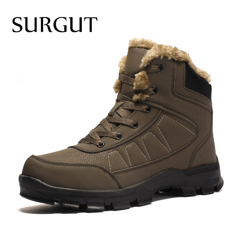 SURGUT Brand Winter Men Non-slip Working Boots Plush Keep Warm Waterproof Plus Fur Snow Boots Men Sneakers Shoes Big Size 39-47