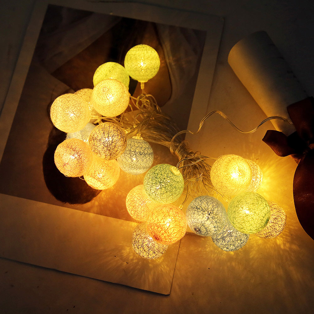 3.55m 20 LEDs String Lights Cotton Thread Balls Home Decoration Lamp For Party Wedding US/EU Plug SLC88