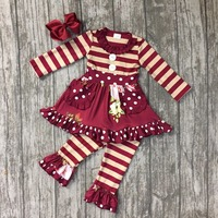 Fall Winter Design Wine Burgundy Floral Pocket Button Stripes Pants Baby Kids Girls Boutique Clothing With