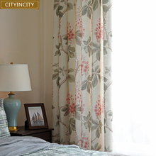 CITY IN CITY Printed Half Shading America Pasroral Faux Linen Curtains For Living Room And Bedroom