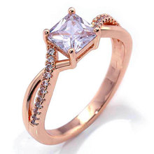 Engagement Rose Gold Color Rings for Women Fashion Square AAA+ Cubic Zirconia Hearts&Arrows Wedding Rings Ladies Party Jewelry angelfrigg trendy women rings with aaa cubic zirconia wedding engagement anniversary fashion ladies jewelry gift