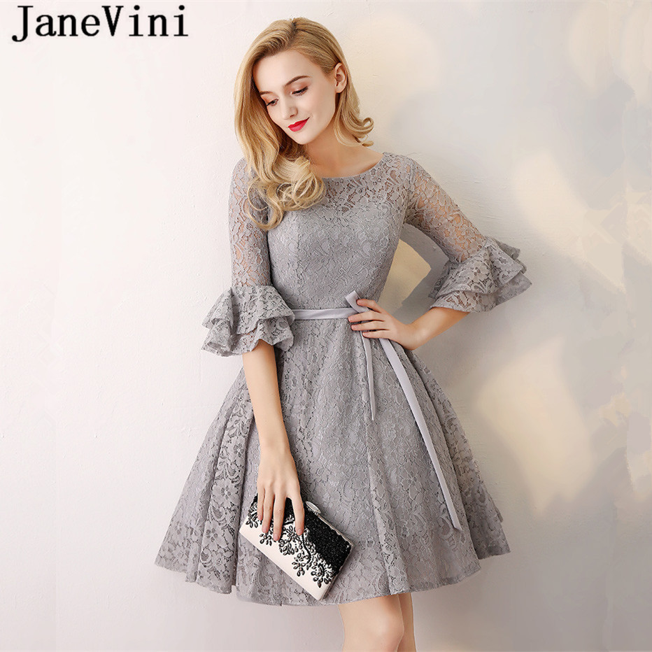JaneVini Elegant Lace Grey Bridesmaid Dresses Short 2018 A Line Scoop Neck Half Sleeves Ribbon Sashes Girls Pageant Prom Gowns