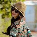 2015 Женщины Марка Привлекательный Лето Hat Складная Соломенные Шляпы Моды Вс Шляпа Высокое Качество Пляж Головные Уборы Chapeu Feminino HT50268