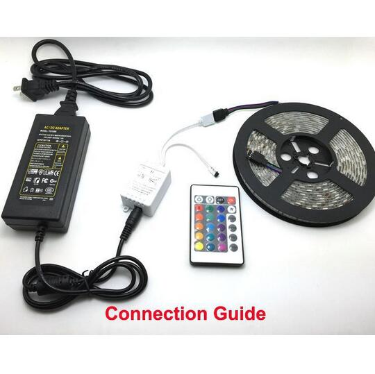 RGB Led Strips 5M 300 Leds SMD 5050 RGB lights led strips 60 leds/M 24Key IR Remote Controller 12V 5A power supply - 3