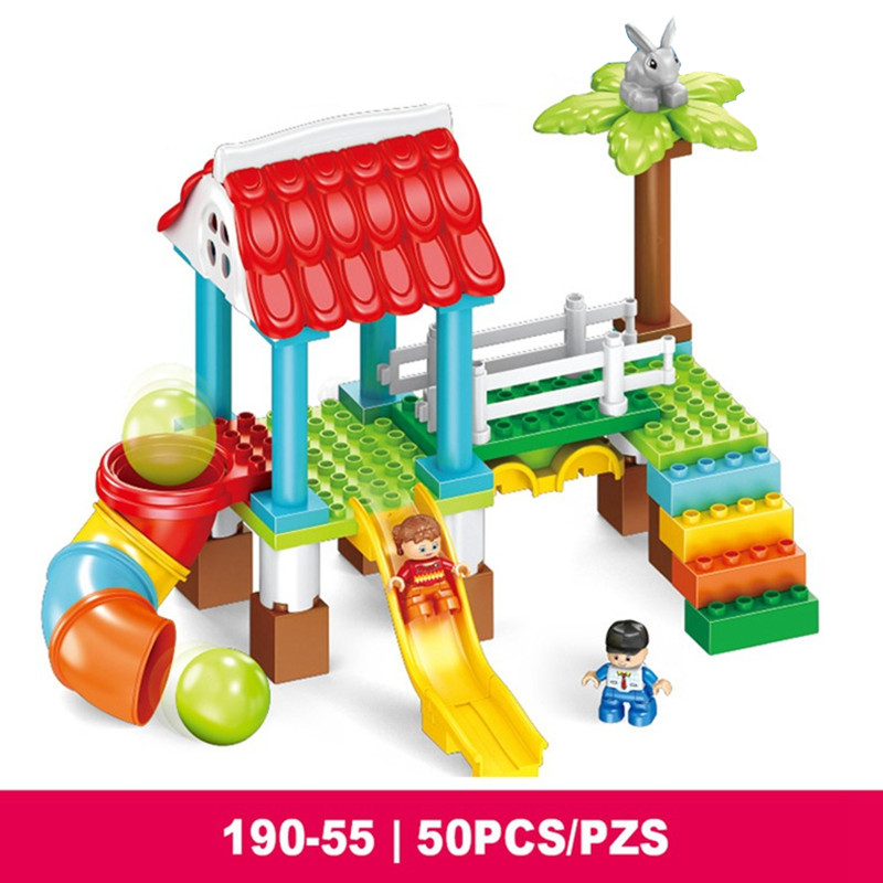 Happy Playground Paradise Game Pipeline Slide Diy Building Blocks Set Compatible With Legoingly Duploe Toys For Baby Kids Gifts