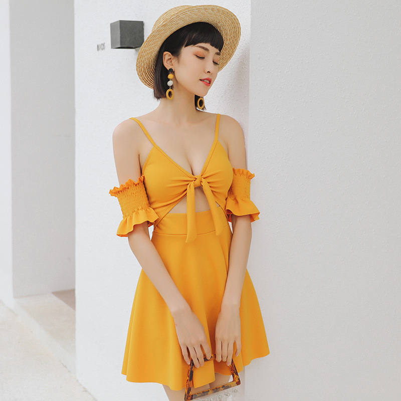 Sexy Swimsuit One Piece Women Bathing Suit Push Up Skirt Suits Female Yellow Backless High Waist Solid Polyester Sierra Surfer
