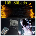 10M 80 LED Battery Operated LED String Lights for Xmas Garland Party Wedding Decoration Christmas Flasher Fairy Lights
