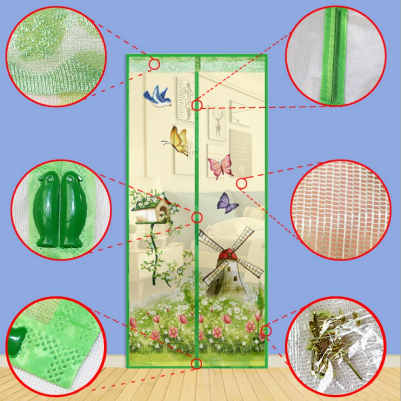 4 Colors Magnetic Curtains Mosquito Net on the Door Window Mesh with Magnets Insect Screen 2